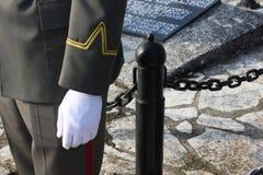 Солдат стоя рядом с усыпальницей неизвестного солдата Принципиальная схема Дня памяти погибших в войнах Стоковое фото RF