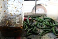 Соленье в опарнике и Chilies близко им стоковые фото