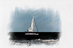 Солитарная белая шлюпка на Средиземном море иллюстрация штока