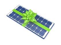 Солнечная батарея украшенная с зеленой тесемкой. иллюстрация вектора