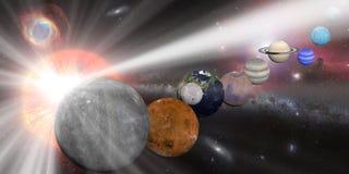 Солнечная система с лучами белизны солнца иллюстрация штока