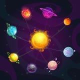 Солнечная система фантазии мультфильма красочная со звездой и планетами на предпосылке космоса стоковые фото