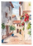 Солнечная улица Испании иллюстрация вектора