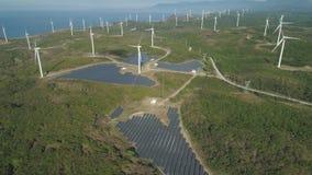 Солнечная ферма с ветрянками Филиппины, Лусон сток-видео