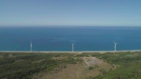 Солнечная ферма с ветрянками Филиппины, Лусон Стоковые Изображения RF