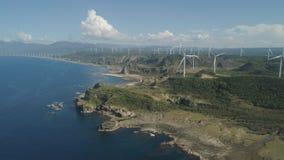 Солнечная ферма с ветрянками Филиппины, Лусон Стоковые Фото