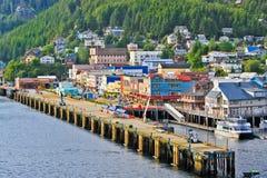 Солнечний свет ближе к вечеру портового района Аляски Ketchikan Стоковое Изображение