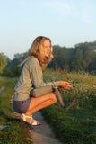 солнечний свет солнца утра девушки мягкий Стоковые Изображения