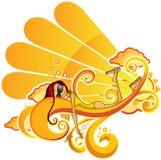 солнечное девушки померанцовое Стоковые Изображения