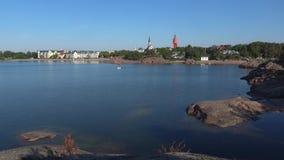 Солнечное утро в городе гавани Hanko Финляндия видеоматериал