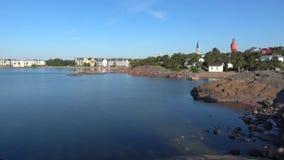 Солнечное утро в июле в гавани Hanko Финляндия сток-видео