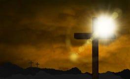 Солнечность над крестом в холме иллюстрация штока