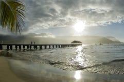 солнечность пристани hanalei стоковая фотография rf