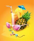 солнечные очки ананаса питья шариков тропические Стоковое Фото