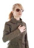 солнечные очки воина портрета девушки Стоковое фото RF