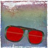 Солнечные очки год сбора винограда на предпосылке grunge иллюстрация штока