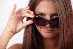 солнечные очки девушки Стоковое Фото