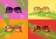 Солнечные очки женщин изолировали иллюстрацию, предпосылку цвета Стоковые Фотографии RF