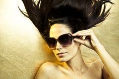 солнечные очки золота Стоковое Изображение RF