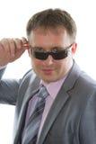 солнечные очки костюма телохранителя шикарные Стоковое фото RF