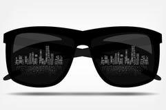 Солнечные очки с городом на заднем плане. вектор иллюстрация вектора