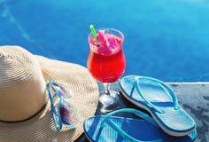 Солнечные очки цветка питья сока арбуза стеклянные Стоковые Фото
