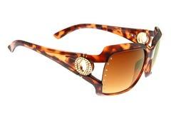 солнечные очки backgro коричневым изолированные способом белые Стоковое Изображение RF