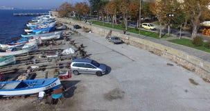 Солнечный весенний день над портовым районом Pomorian в Болгарии Стоковые Изображения