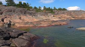 Солнечный день в июле на скалах полуострова Hanko Финляндия сток-видео