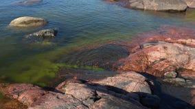 Солнечный день на утесах полуострова Hanko Финляндия акции видеоматериалы