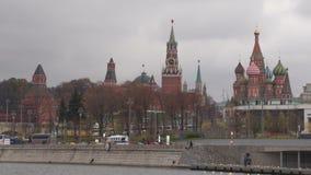 Солнечный залив Кремль Timelaps реки Москвы летнего дня видеоматериал