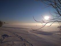Солнечный зимний день на заливе стоковая фотография rf