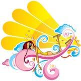 Солнечный пинк девушки Стоковые Изображения RF