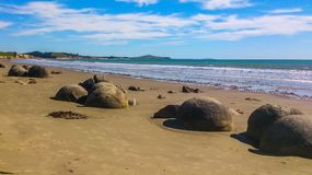 Солнечный пляж в Новой Зеландии стоковая фотография rf