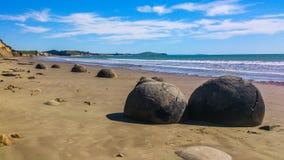 Солнечный пляж в Новой Зеландии стоковое фото