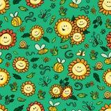 Солнцецветы и пчелы вектора красочные повторяют картину с зеленой предпосылкой Соответствующий для обруча, ткани и обоев подарка иллюстрация штока