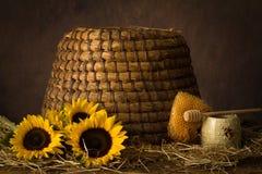 Солнцецветы и старый улей стоковые фото