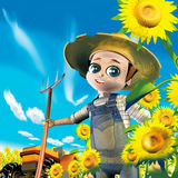 солнцецветы хуторянина Стоковая Фотография