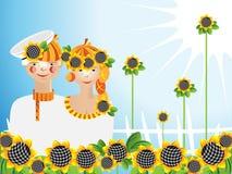 солнцецветы человека девушки молодые Иллюстрация штока