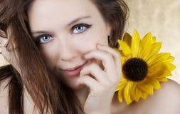 солнцецвет девушки Стоковые Изображения RF