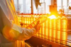 солнцецвет масла падения стилизованный Линия фабрики продукции и заполнять очищенной нефти от семян подсолнуха Транспортер фабрик Стоковое Фото