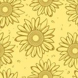 солнцецвет предпосылки безшовный Стоковая Фотография