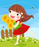 солнцецвет сора девушки Стоковое Изображение