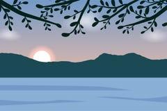 Солнце взгляда ландшафта в горе и реке иллюстрация штока