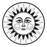 Солнце винтажной черно-белой этнической фрески орнамента оккультное усмехаясь иллюстрация вектора
