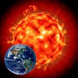 солнце влияния земли Стоковое Фото