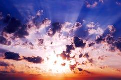 Солнце в облаках Стоковое Изображение RF