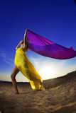 солнце девушки пляжа предпосылки Стоковые Фото