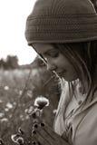 солнце девушки bw счастливое вниз Стоковые Изображения RF