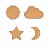 солнце звезды луны иконы облака рециркулированное papercraft Стоковое Изображение